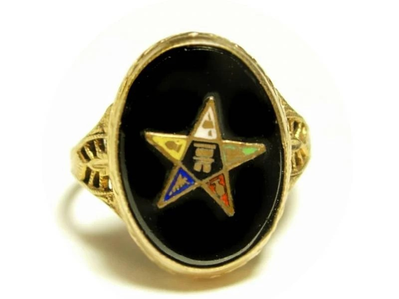 Early Masonic Eastern star Onyx Deco gold filled Ring with