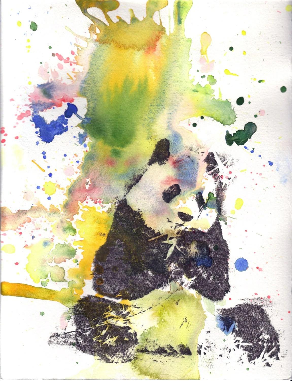 Panda Art Animal Watercolor Painting Poster Print 13x19