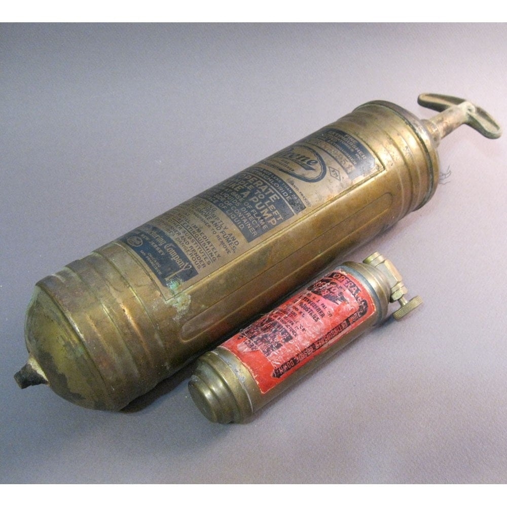SALE antique brass fire extinguisher very old by theartfloozy