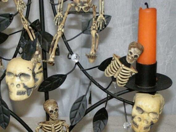 Spooky Halloween Candelabra Day Of The Dead Skulls Skeletons