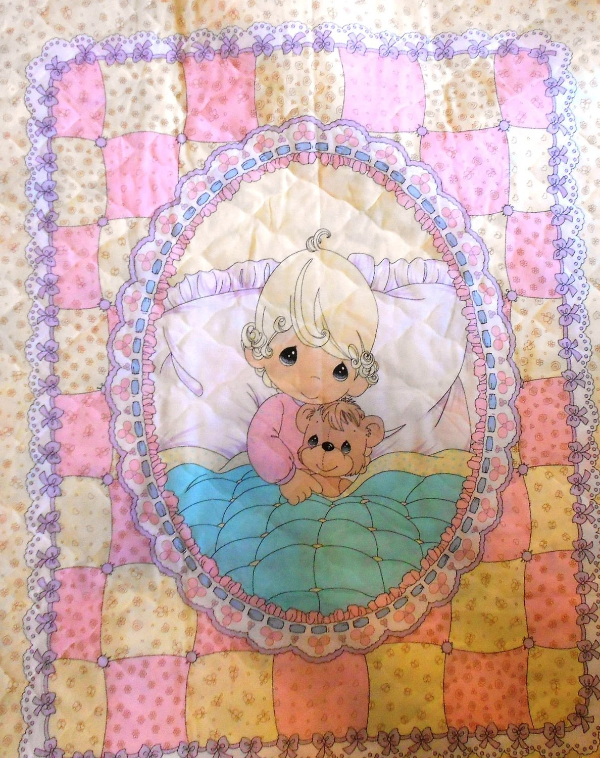 Rare Child S Bedding Precious Moments Quilt Blanket Panel