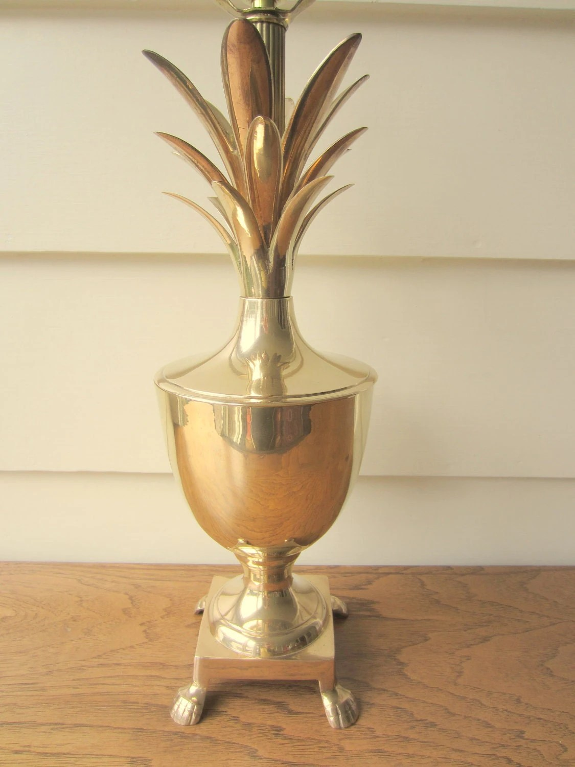 Hollywood Regency Style Brass Pineapple Lamp With By