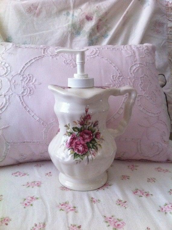 Shabby Chic Floral Pink Roses Ceramic Soap Dispenser Cottage