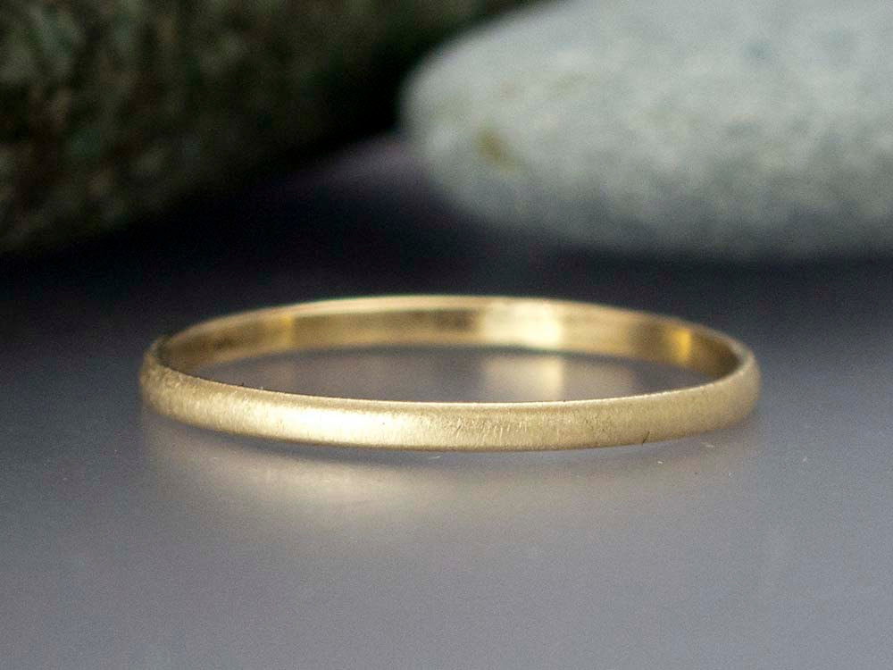 14k Yellow Gold Thin Wedding Band Solid Gold 1 5mm Wide Half