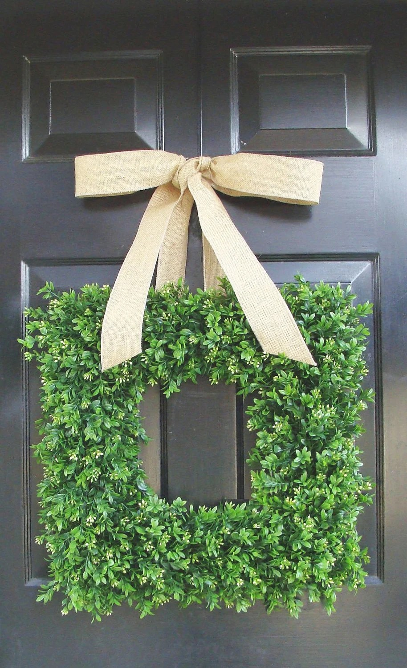 Summer Wreath Spring Wreath Square Boxwood Wreath for Door