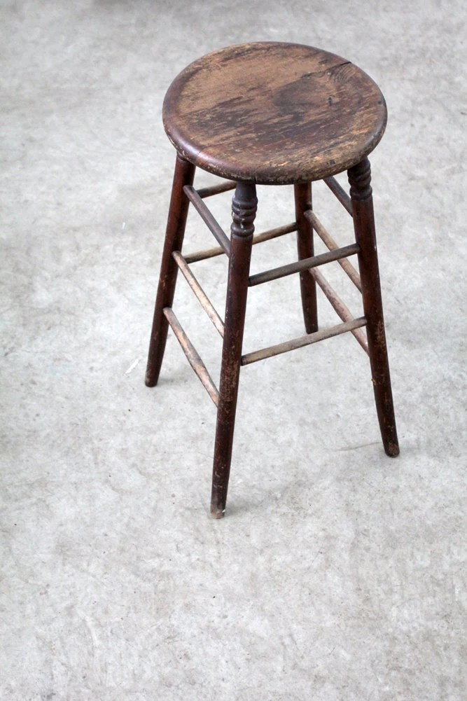 Antique Wood Stool Tall Spindle Stool