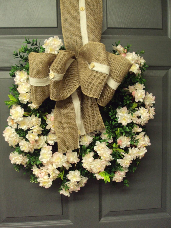 Items similar to Square Boxwood Wreath, Summer Wreath ...