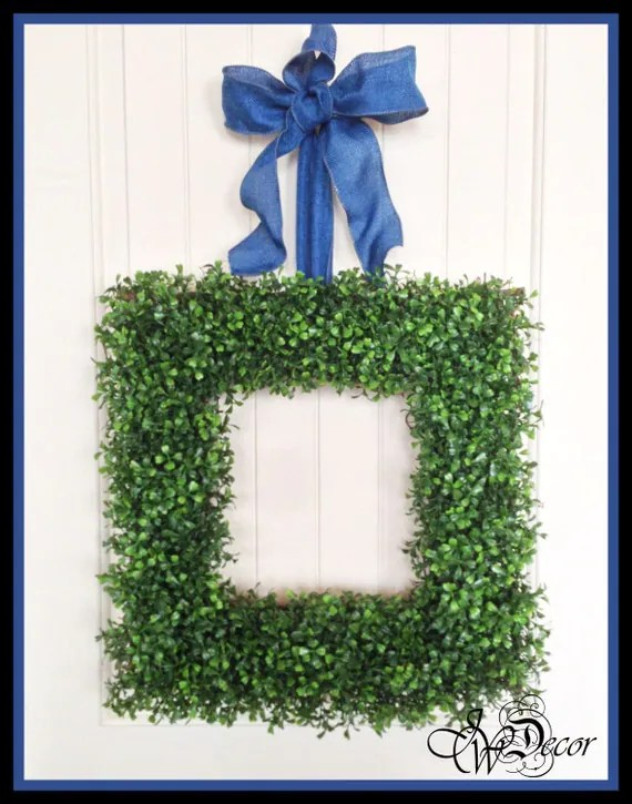 Square Boxwood Wreath Artificial Boxwood Wreaths by JWDecor
