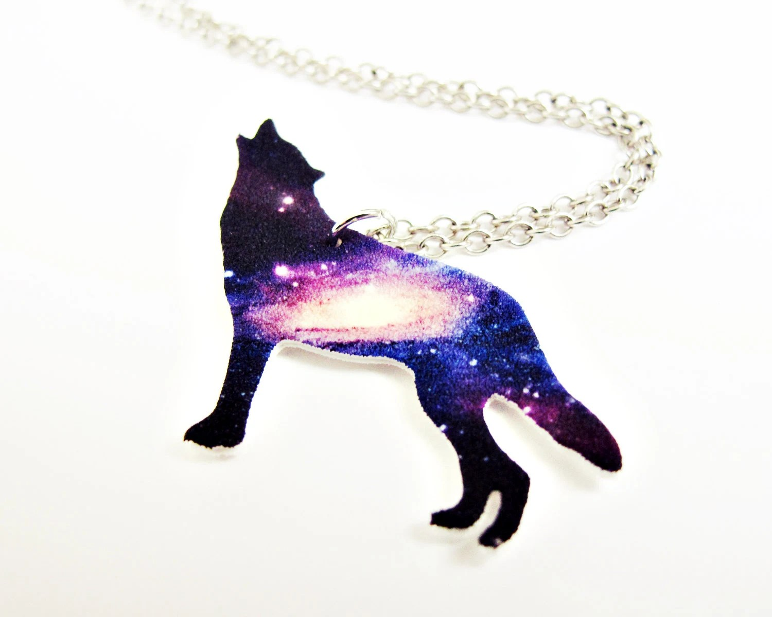 Purple Howling Wolf Galaxy Necklace by SOMETHiNGMONUMENTAL ...