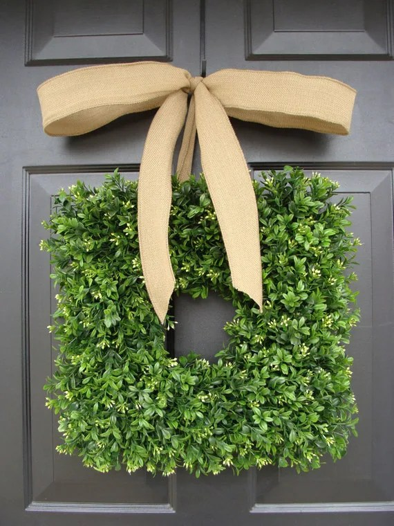 Square Artificial Boxwood Wreath with Burlap Ribbon 14-24 inch