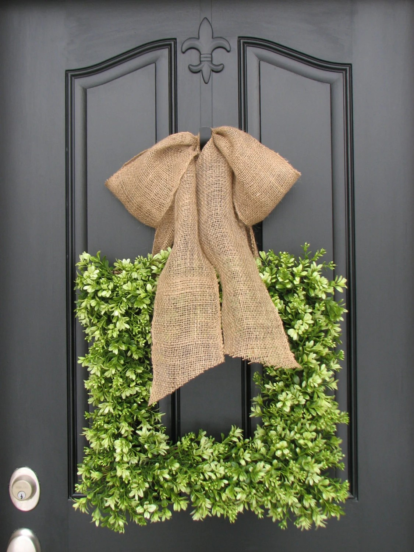 Wreaths Boxwood Wreath Square Wreath Spring by twoinspireyou