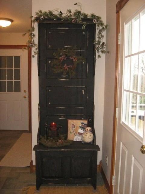 Antique Door Hall Tree With Storage Bench