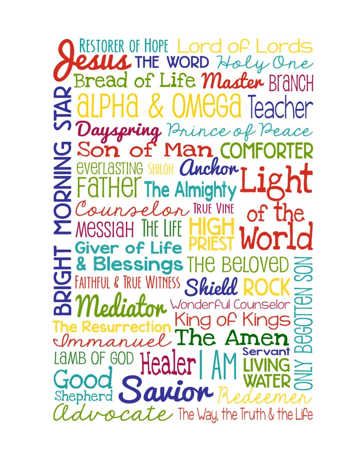 The Names of Jesus Christian Wall Art by LibertyAndLilacPaper