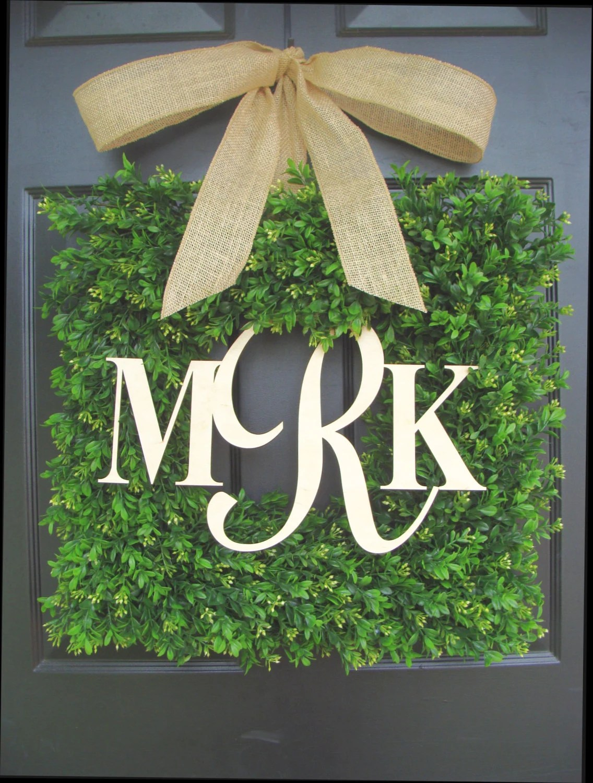 Square Boxwood Monogram Wreath with Burlap Bow Monogram