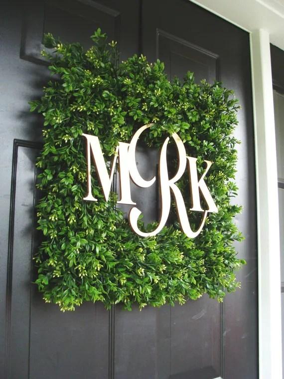 Square Monogram Boxwood Wreath Boxwood Monogram Wreath
