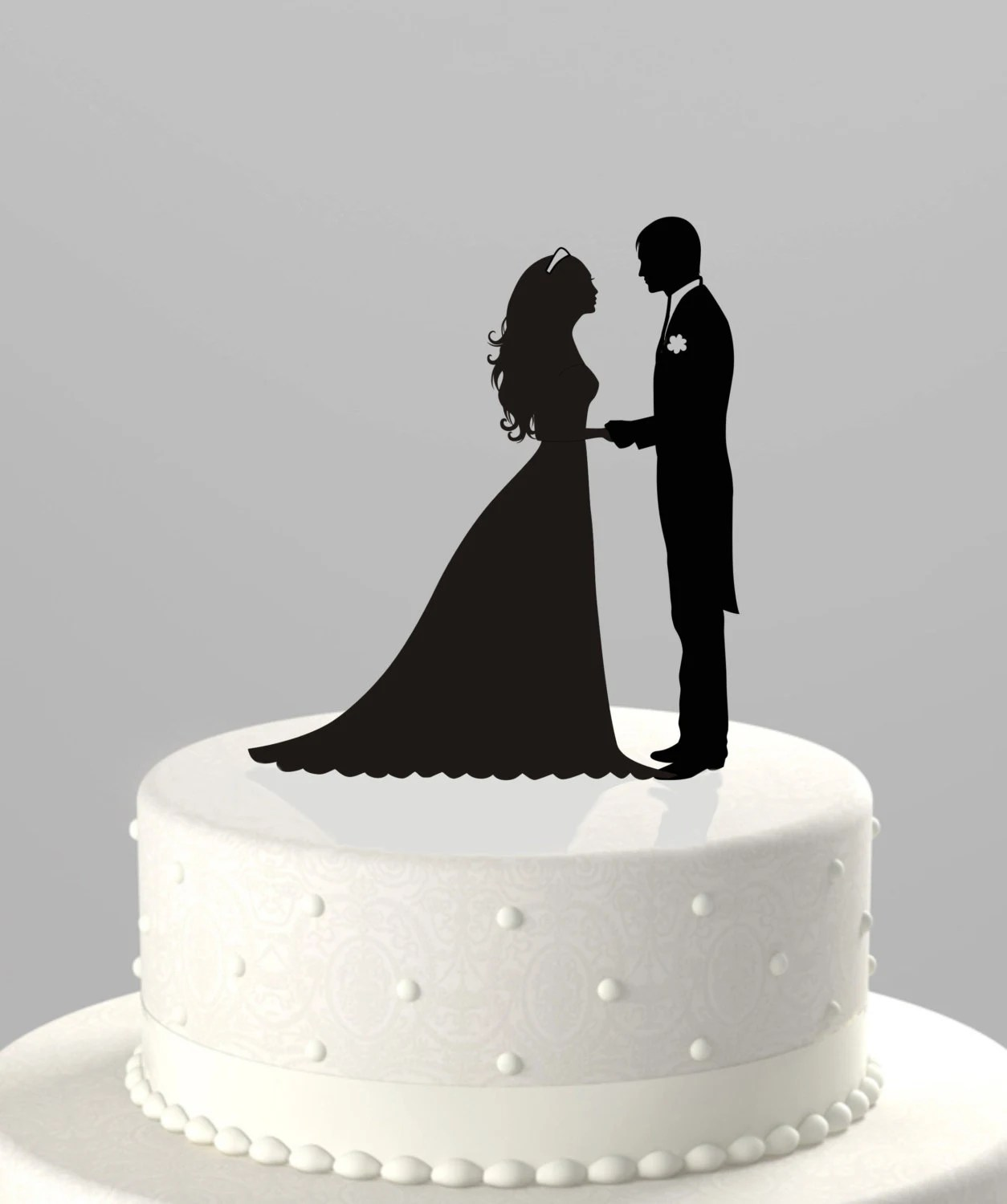 Wedding Cake Topper Silhouette Groom and Bride Acrylic Cake