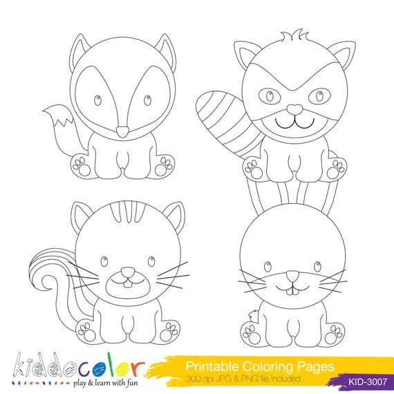 Printable Cute Woodlands Animals Coloring Pages & by ...