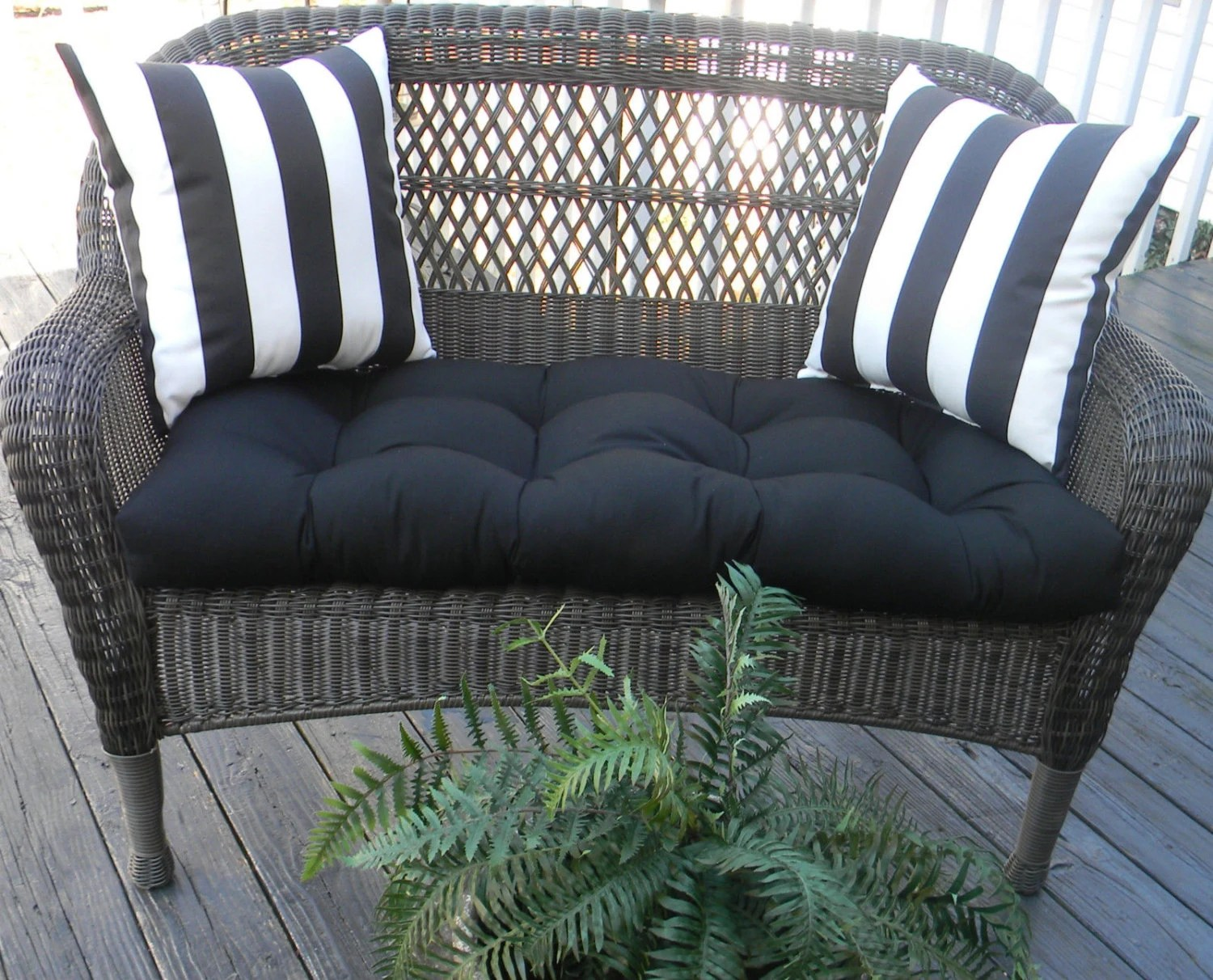 Indoor Outdoor Cushion 3 Pc Set For Wicker Loveseat Bench