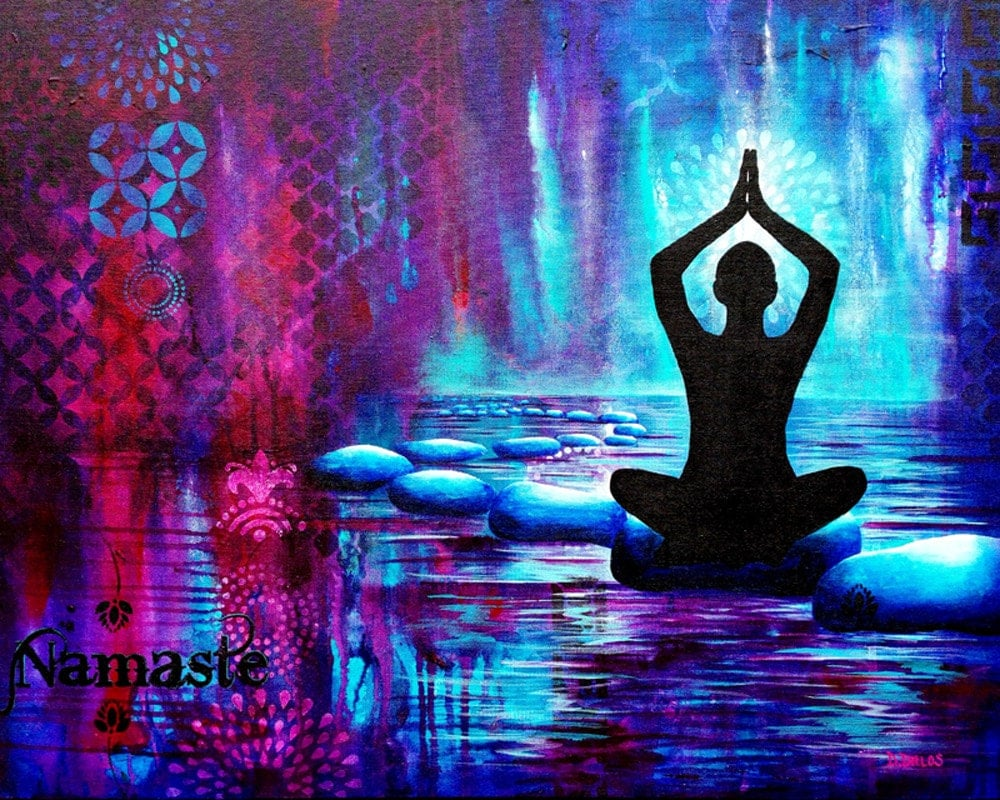 Namaste Yoga Painting GICLEE PRINT on Fine Art Paper or