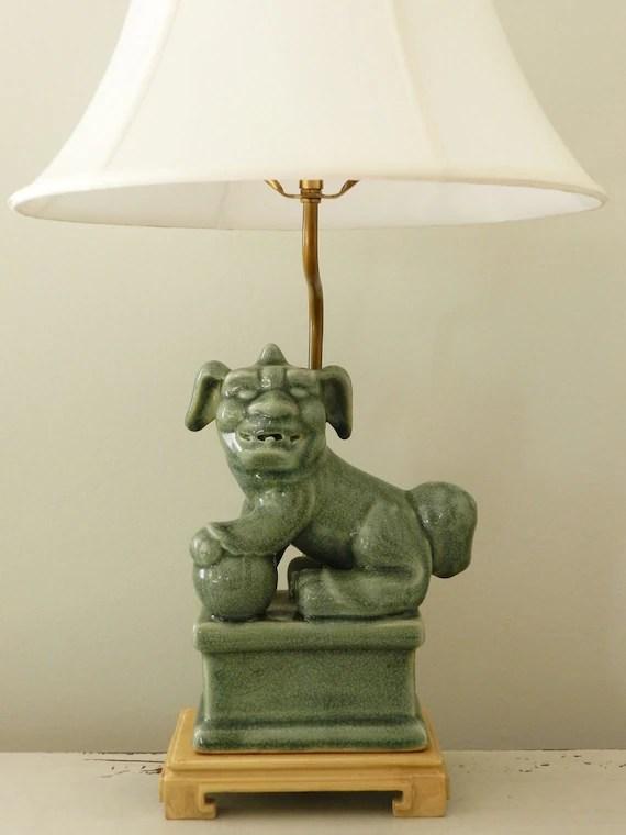 Vintage Foo Dog Lamp End Table Lighting Guardian Lion Celadon