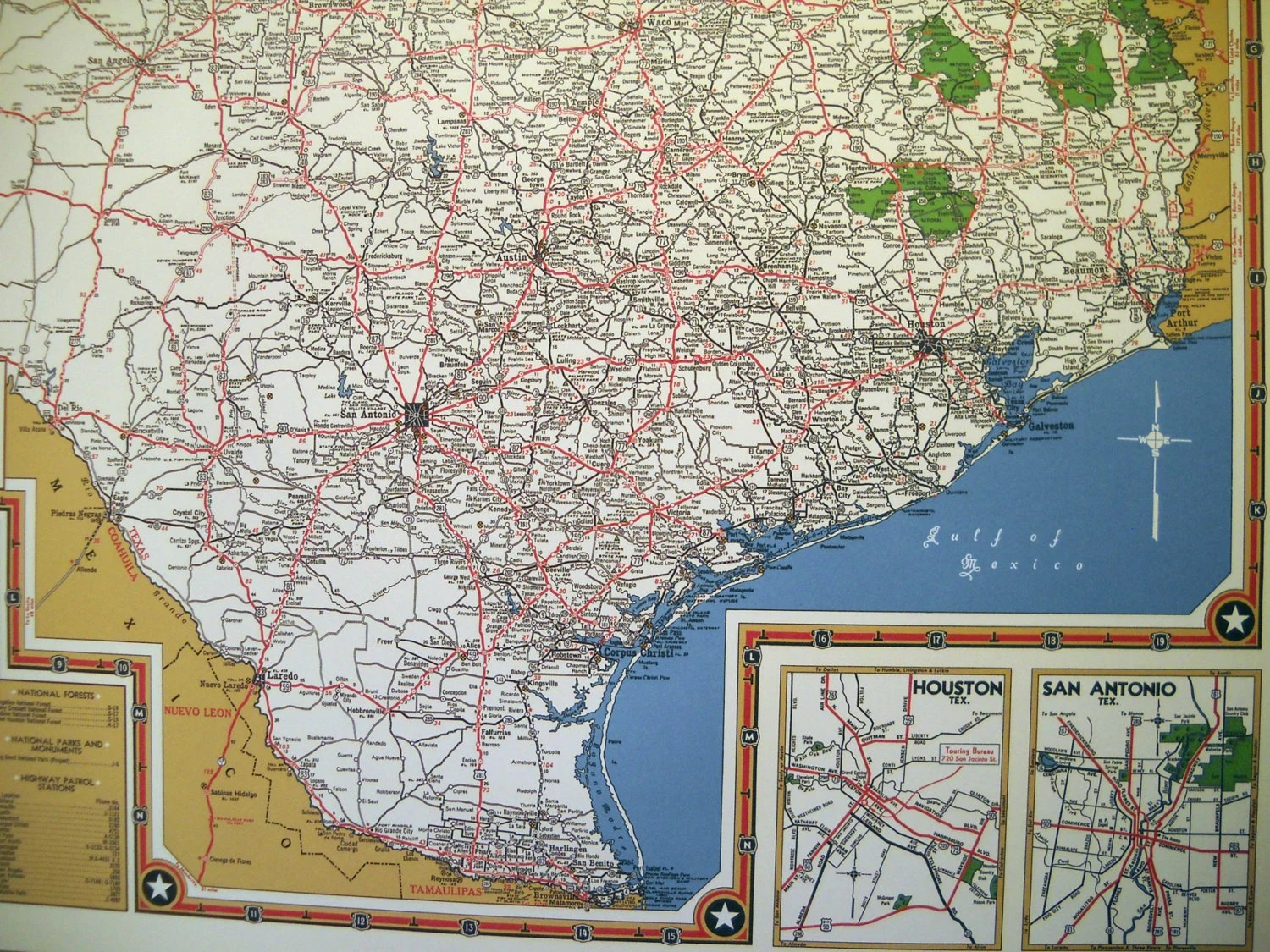 Texas Road Map 1940s Map Poster Vintage Dime Box By Newoldmaps