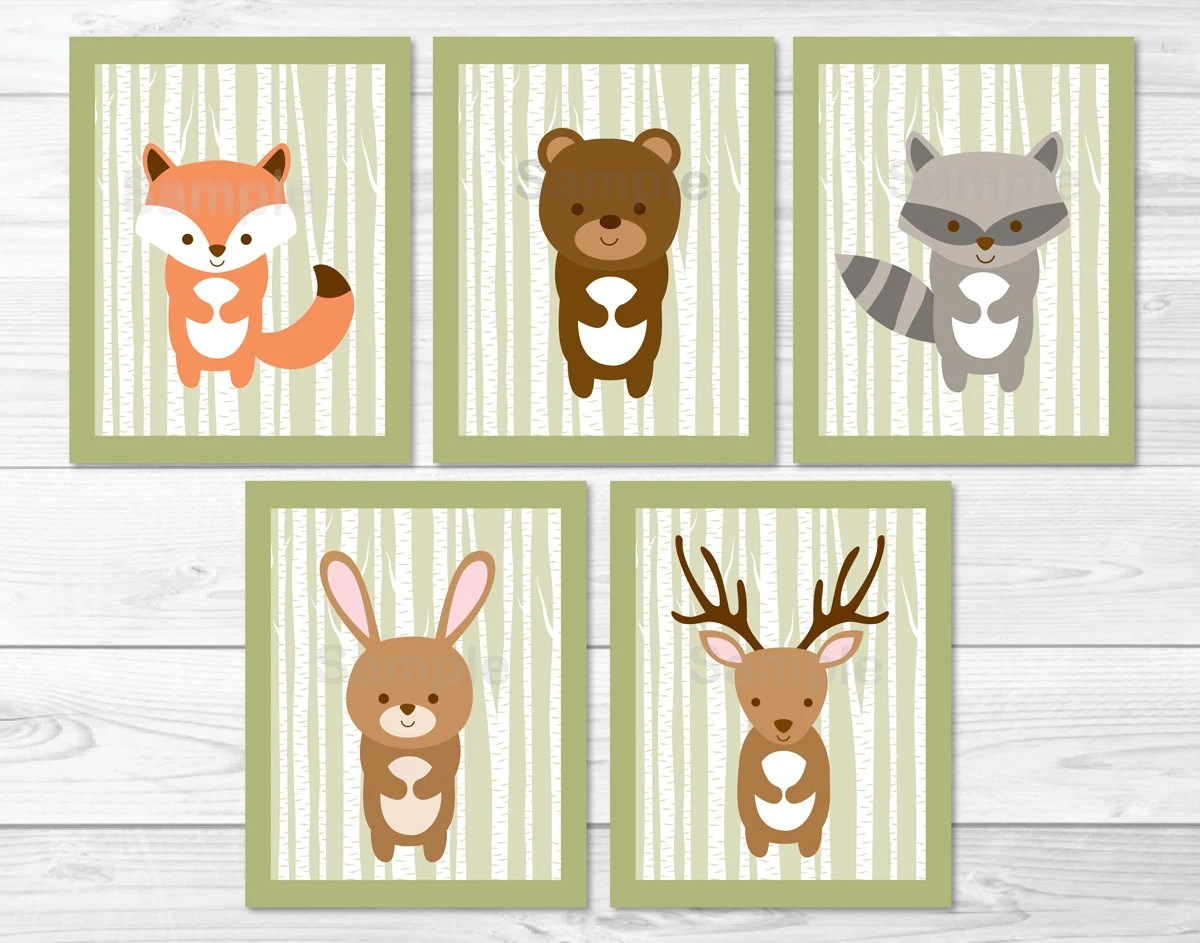 Woodland Forest Animal Nursery Wall Art / Woodland Animal