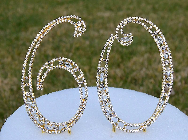 New 5 Gold Rhinestone Number 60 Cake Topper 60th