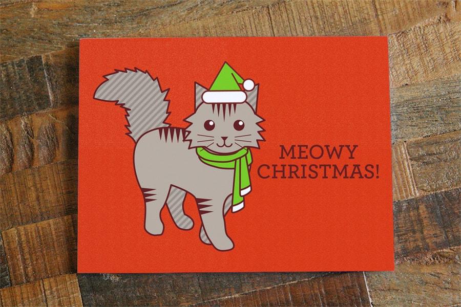 Cute Christmas Card Meowy Christmas Funny