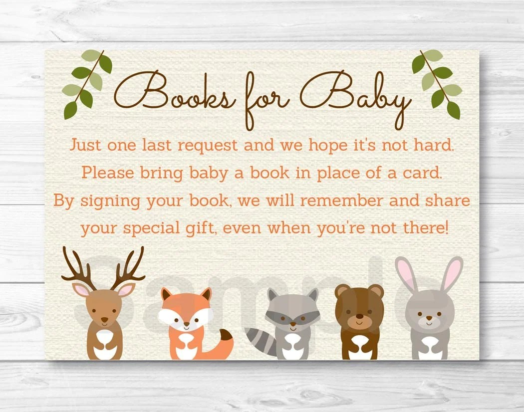 Woodland Forest Animal Baby Shower Book Request Cards INSTANT