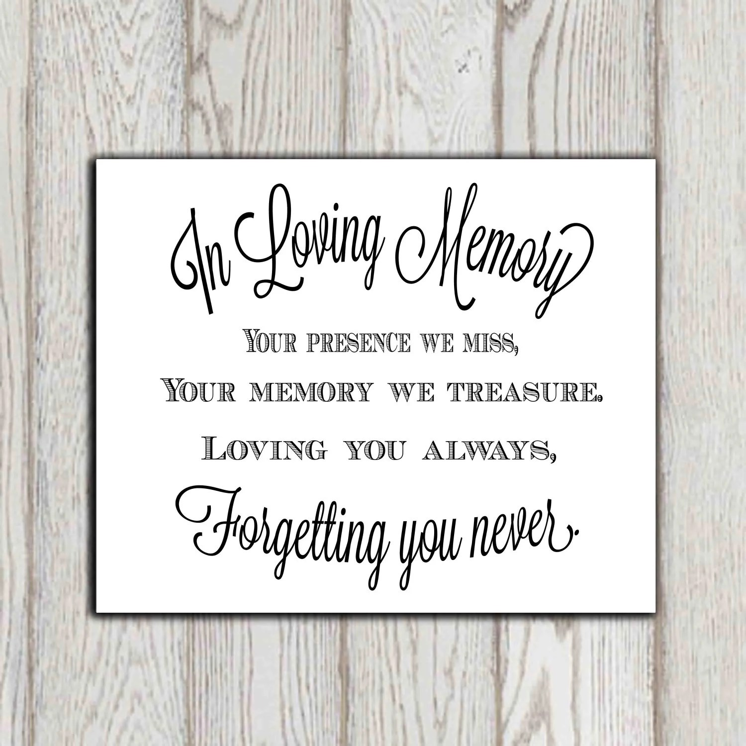 In loving memory of print Memorial table Wedding memorial sign