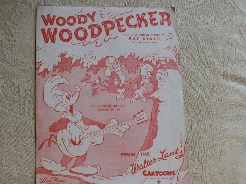ON SALE 1948 Woody Woodpecker Sheet Music from Walter Lantz