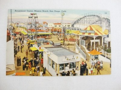 vintage roller coaster post card san diego giant dipper