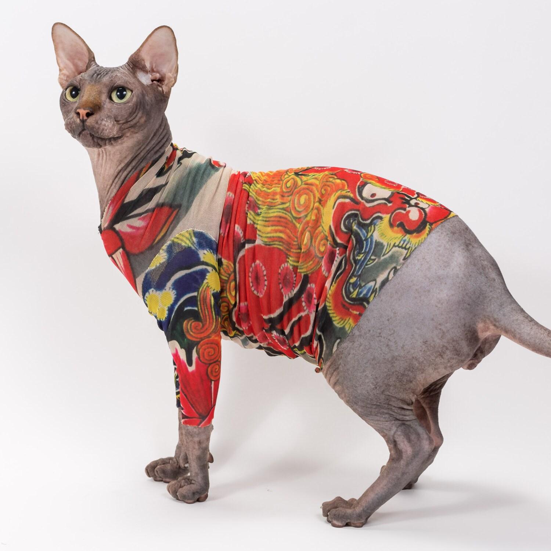 Sphynx Cat Clothes in Kirin by Tattcat™ Long Sleeve Tattoo