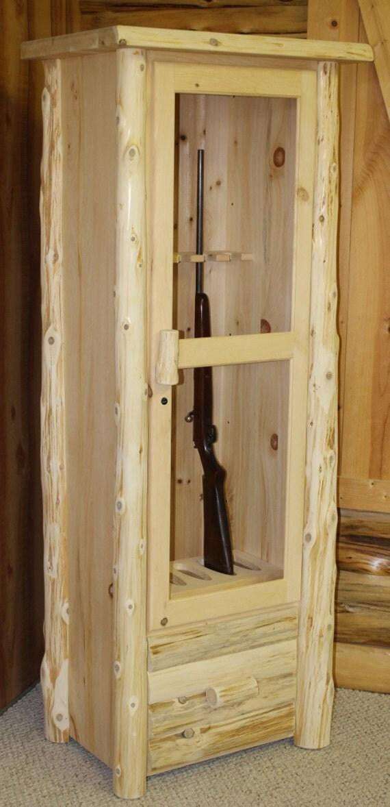 Rustic Log Gun Cabinet Solid Pine Amp Cedar By