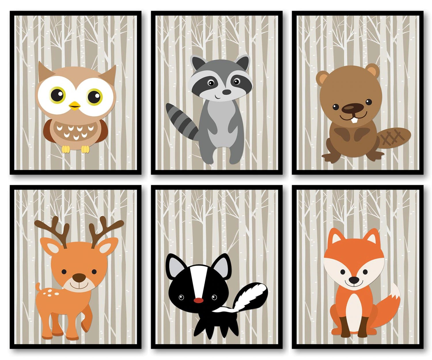 Woodland Animals Woodland Nursery Art Print Set of 6 Owl