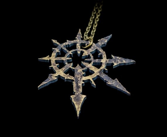 Chaos Star Symbol Warhammer 40k Pendant Necklace by Suvali