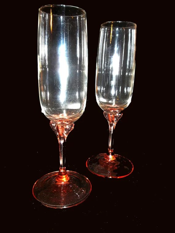Champagne Flutes With Rose / Pink Colored Stems