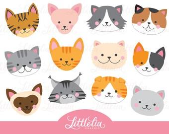 Cute Cats Digital Vector Clip art / Cat Digital Clipart Design