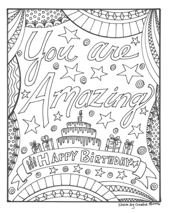 Happy Birthday Coloring Page You Are Amazing