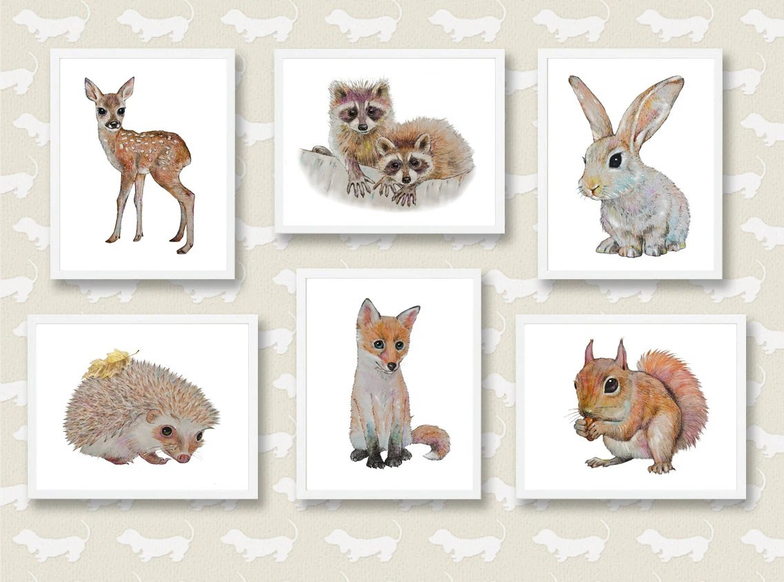 Woodland Nursery Art Forest Animals Baby Animal by ...