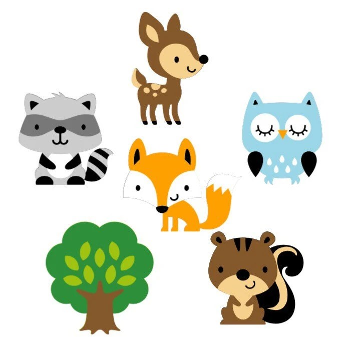 Set of 6 Woodland Animal Die Cuts / Woodland Baby Shower Paper