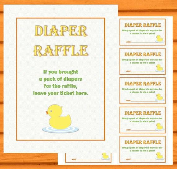 Ducky Diaper Raffle Printable Ticket