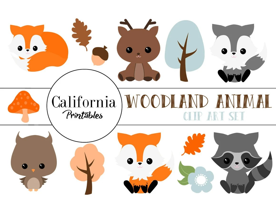 FREE COMMERCIAL USE Woodland Animals Clip Art Set Set of 17