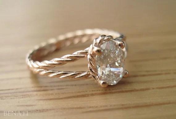 Diamond Twisted Rope Engagement Ring Oval Diamond Engagement