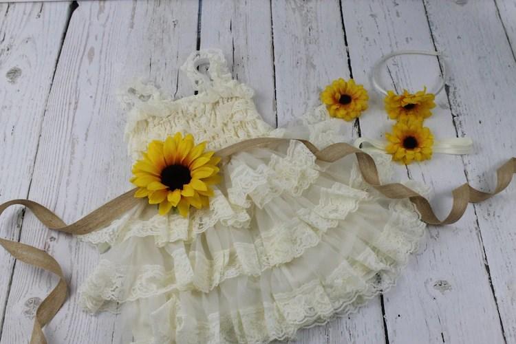 Ivory Flower Girl Dress Sunflower Flower Girl By Lisaannscreations
