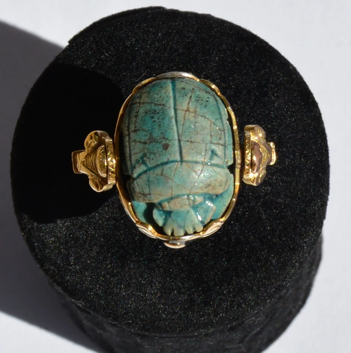 Ancient Egyptian Ring In 18k Gold And Rotating Scarab Egyptian