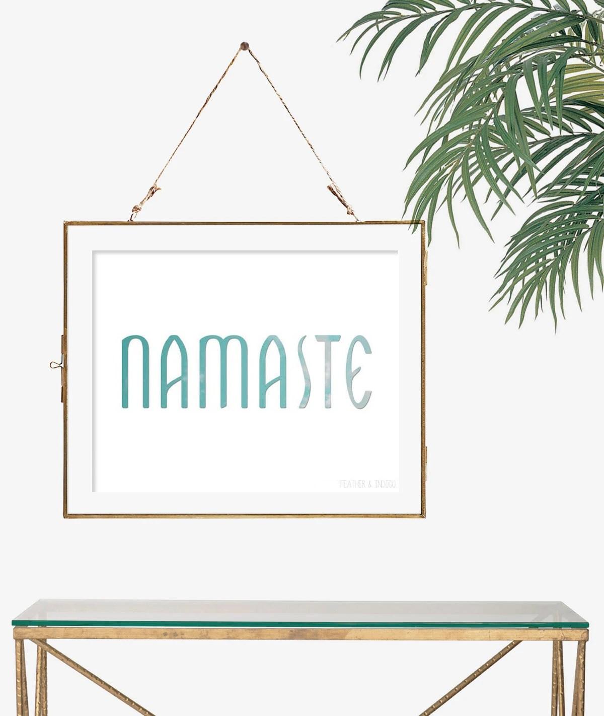 Namaste art typography poster yoga art simple gift idea