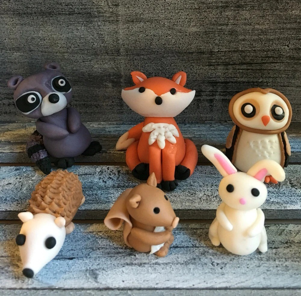 Fondant woodland themed cake toppers