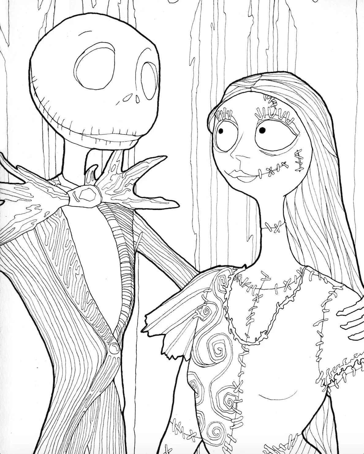 DIGITAL DOWNLOAD Jack and Sally Halloween Coloring Page