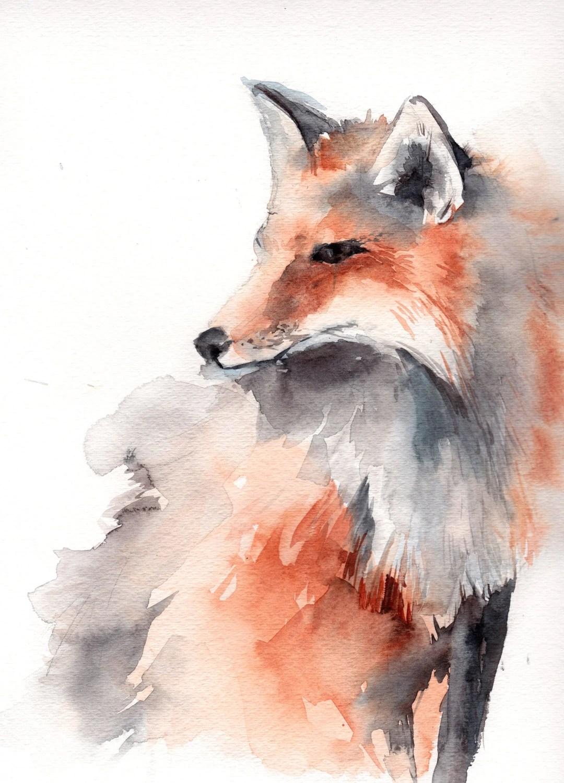 Watercolor Fox Painting Original Watercolor Painting Animal